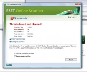 This is a picture of the Eset interface showing 14 infected files.  Calgary Computer Repair recommends eset online scanner.