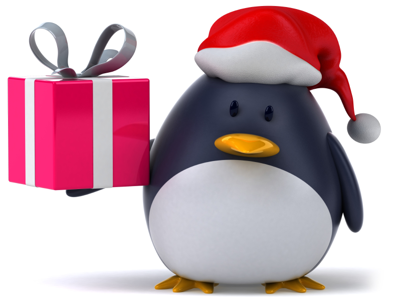 Photo of penguin in a red cap holding a red Christmas present.