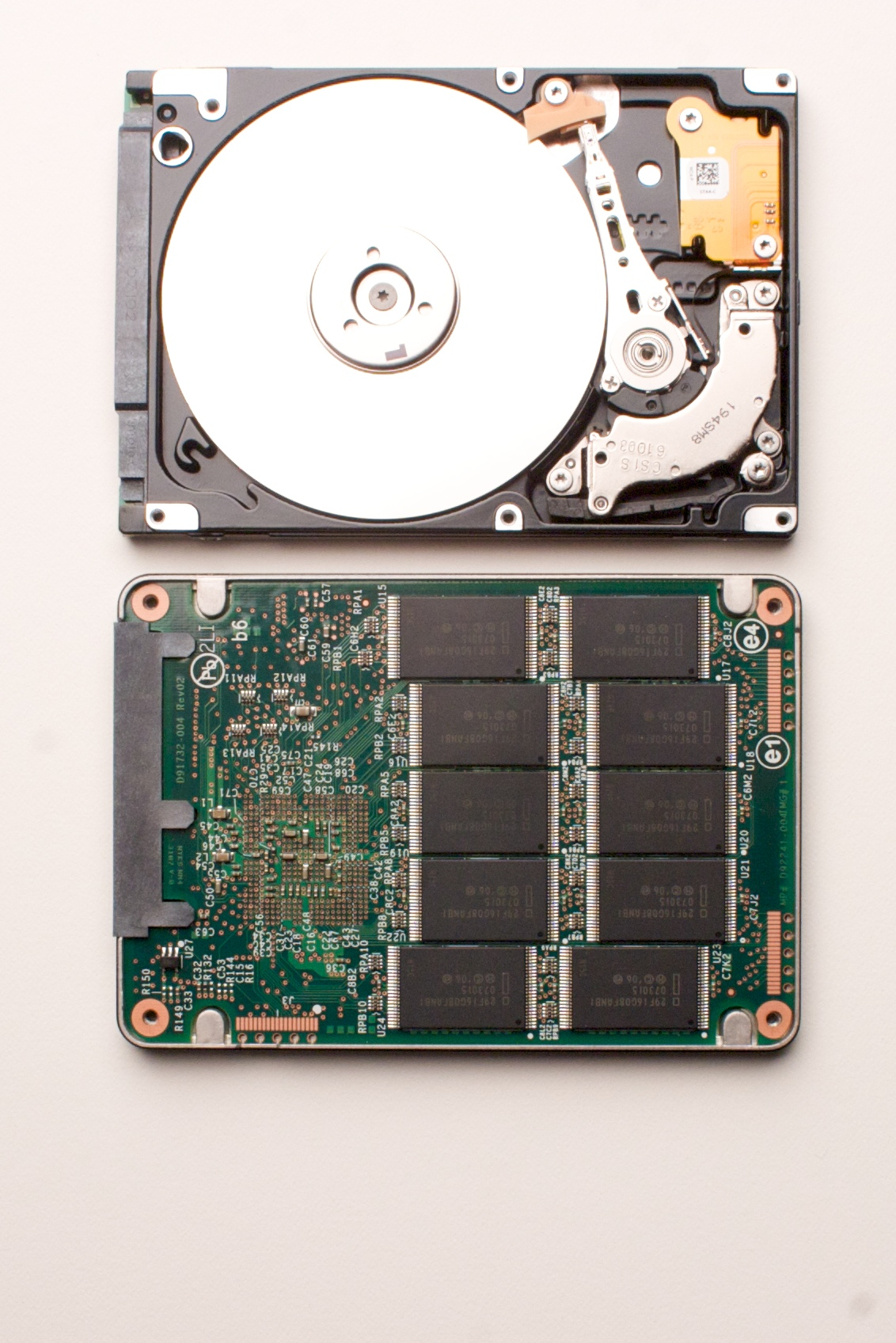 A conventional hard drive and a solid state (Photo by IntelP