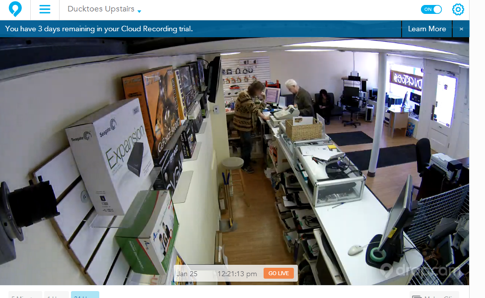 An image of my shop from the Dropcam camera.