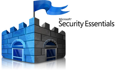 A picture of the Microsoft Microsoft Security Essentials logo of a blue castle and blue flag.