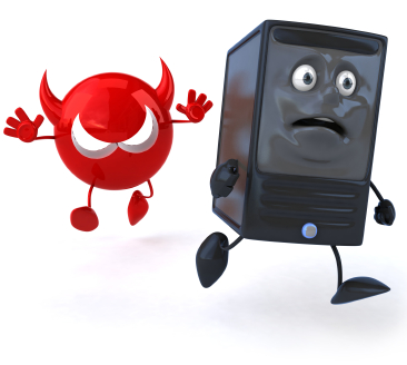 A red mean looking virus chases a scared looking computer tower.