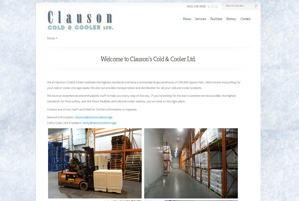 An image of Clauson Cold Storage  a new webdesign by Ducktoes