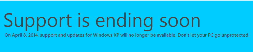 "A graphic from Microsoft that says ""Support is Ending Soon."""
