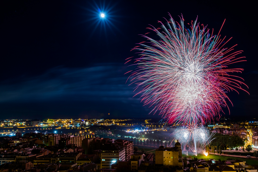 A photo of large purplish-pink firework or a cityscape at night.