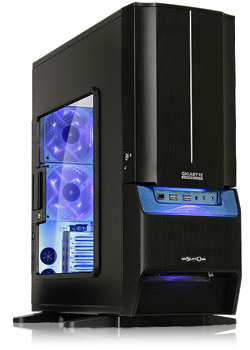 A photo of our top-of-the-line gaming computer with blue lights and clear case.