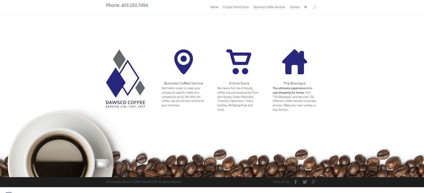 The three blue icons and logo of Dawsco Coffee Services website.