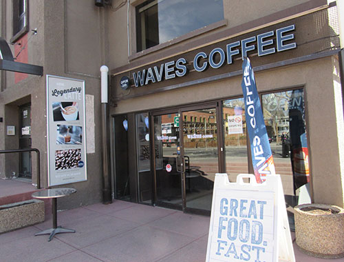 Waves coffeehouse where there is a bitcoin exchange.
