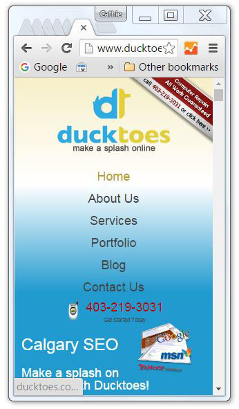 How our web design looks on a smart phone.