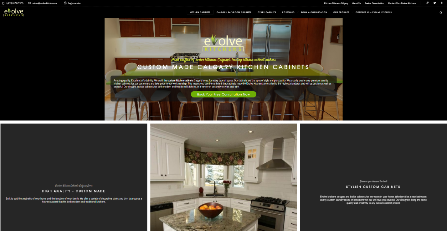 Evolve kitchen cabinets new website