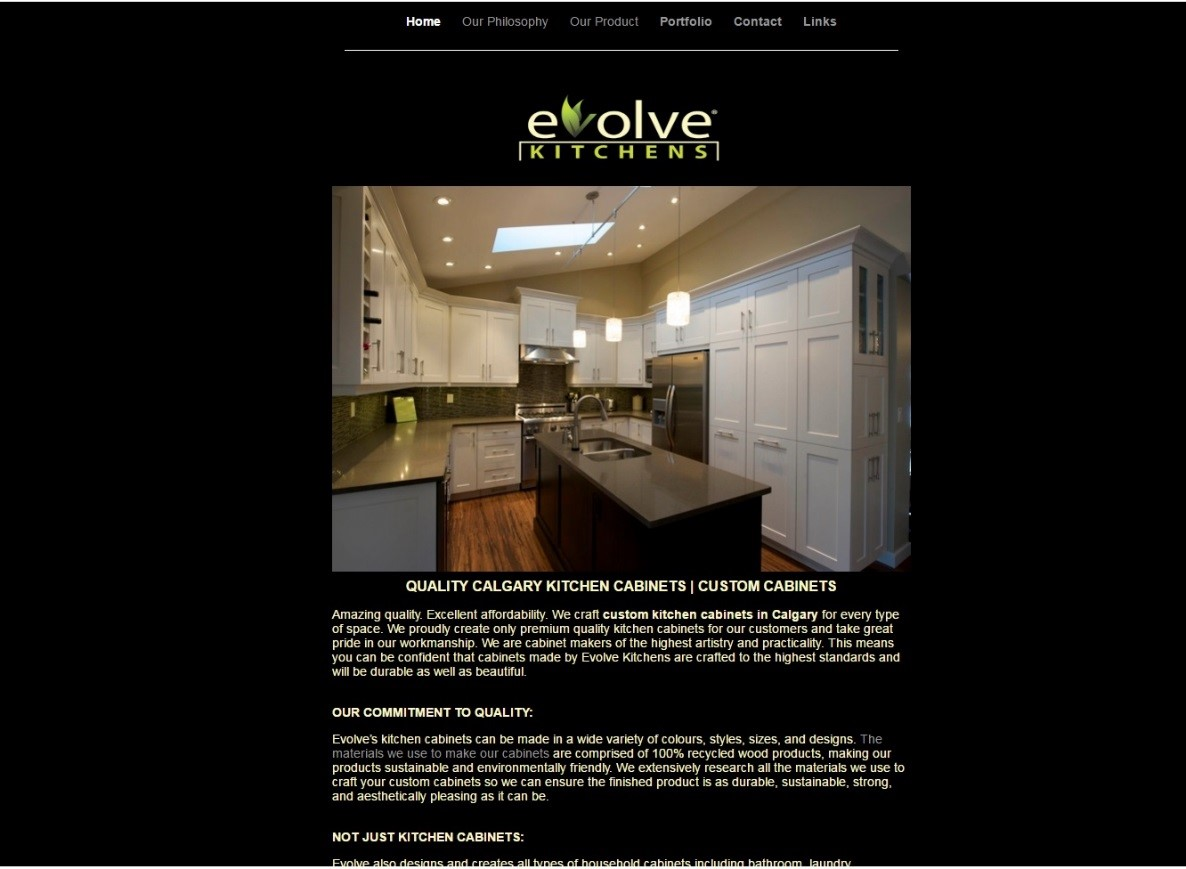 Evolve kitchen's old website about kitchen cabinets.