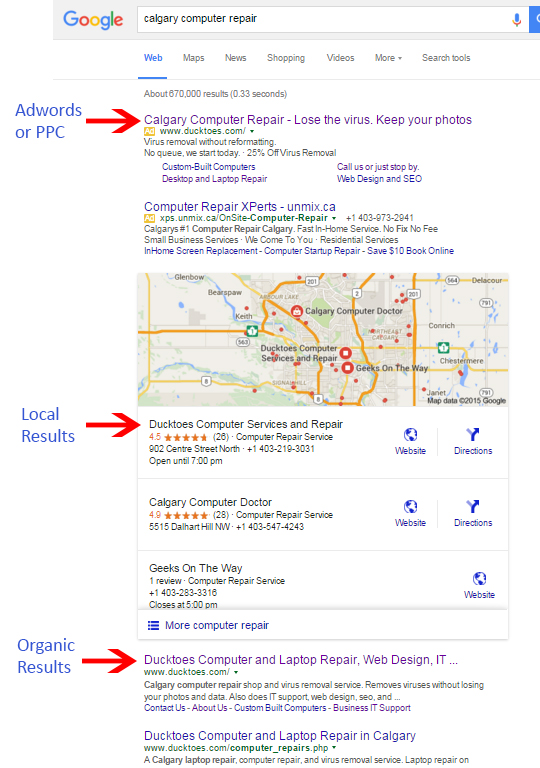 Google search results for Ducktoes number one ranking for Seo and ppc.