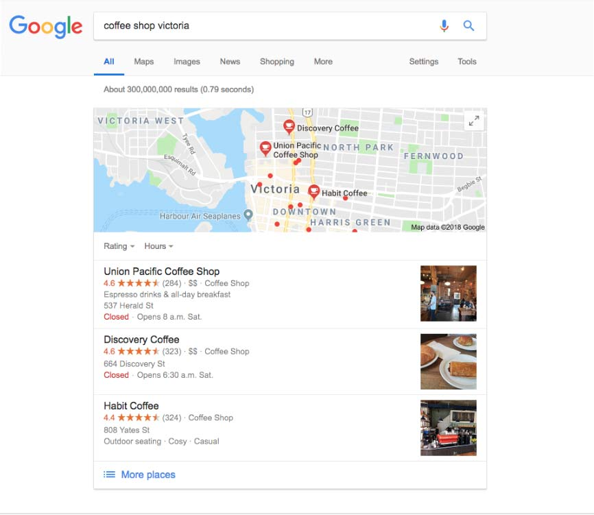 A screenshot of a google search for 'coffee shop victoria'.