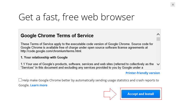 Accept and Install Chrome