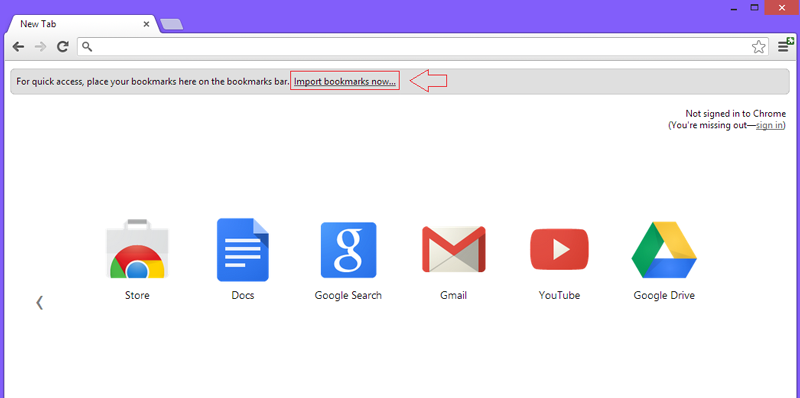 Import bookmarks into Chrome