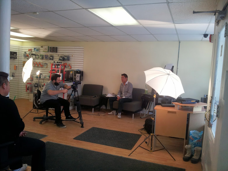 Filmmaker films video of Calgary seo client.