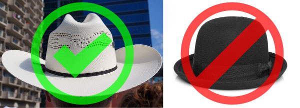 Calgarians at Calgary Stampede parade wearing white hats for whitehat search engine optimization.